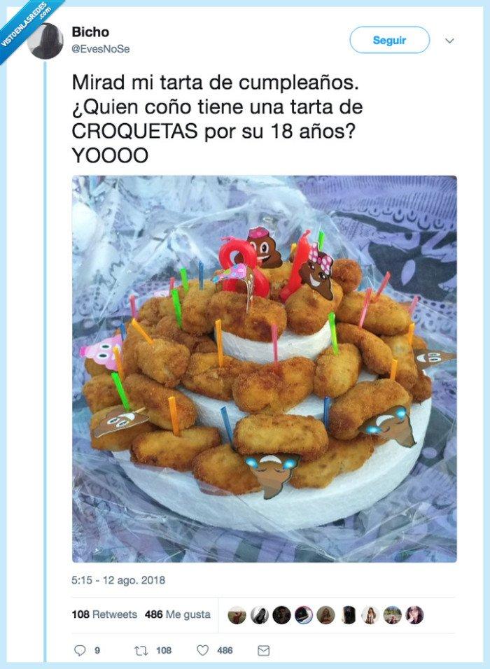 croquetas,cumpleaños,tarta