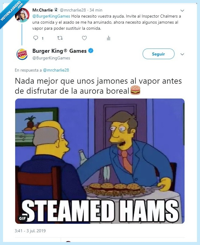 Steamed hams burguer king los simpson