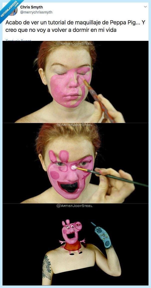 espeluznante,maquillaje,peppa pig