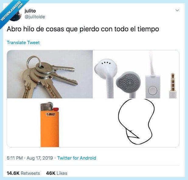 auriculares,cosas que pierdo,dignidad,llaves