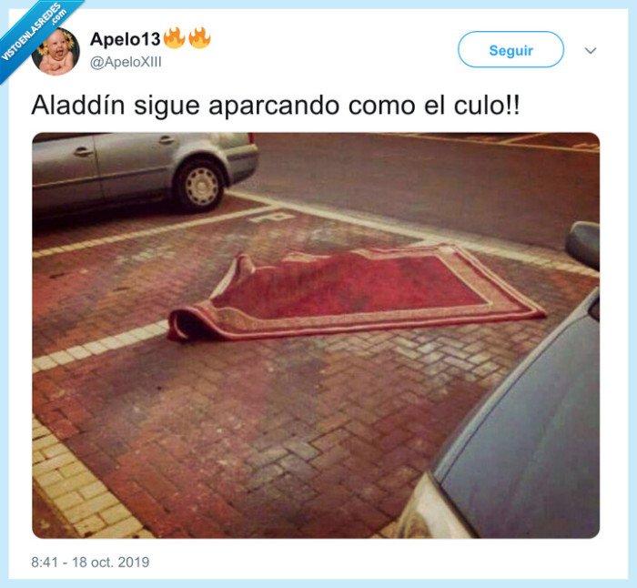 aladdin,alfombra mágica,aparcar