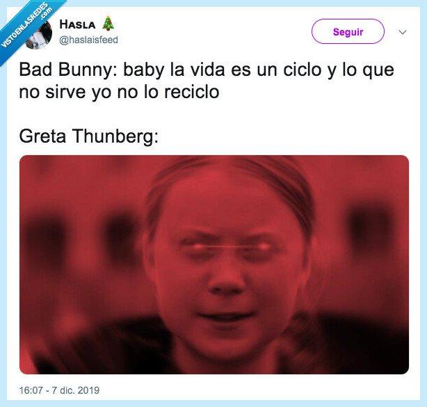 bad bunny,greta thunberg,plastico