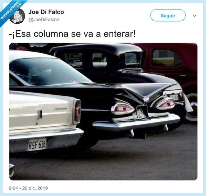 coche,columna,mala leche,rascar
