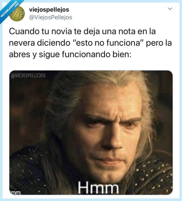 fail,funcionar,humor,jajaja,nevera,nota,novia,ruptura,the witcher