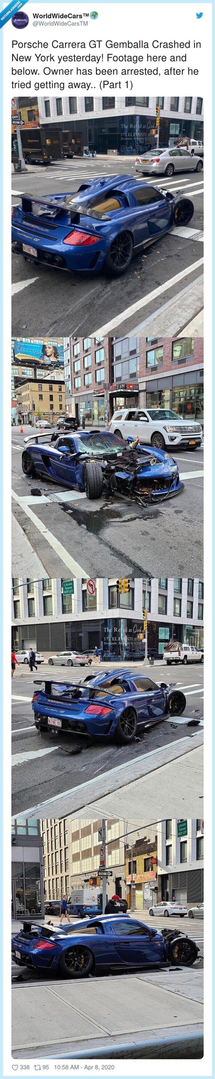 551028 - Quiso vacilar con su deportivo por las calles vacías de Nueva York y lo pagó caro