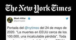 Enlace a Esto es periodismo: la tremenda portada del NYTimes con los casi 100.000 fallecidos en EEUU, por @guerraypaz