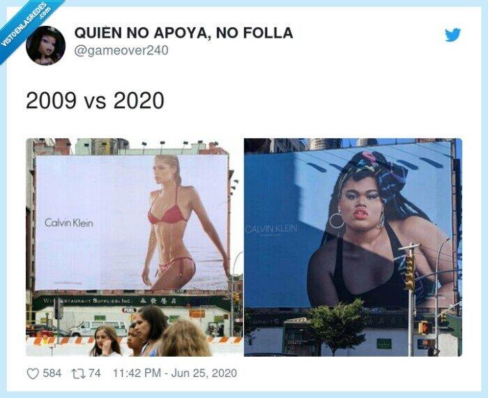 2009,2020,anuncio,calvin klein,delgada blanca,gorda negra,modelo