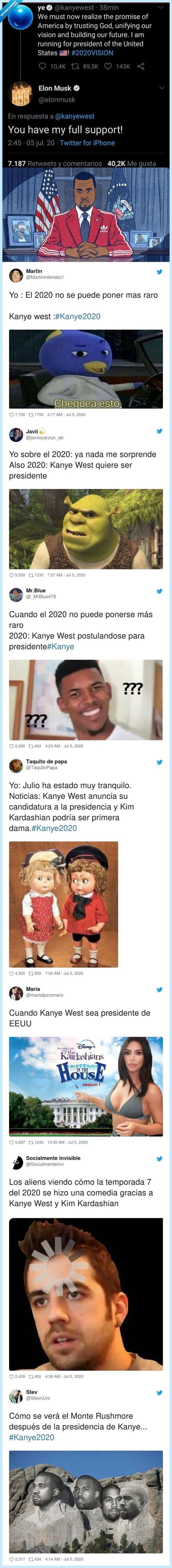 candidatura,eeuu,kanye,memes,presidente,reacciones,usa,west