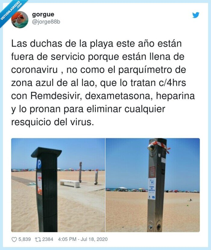 coronavirus,dexametasona,ducha,parquímetro,remdesivir