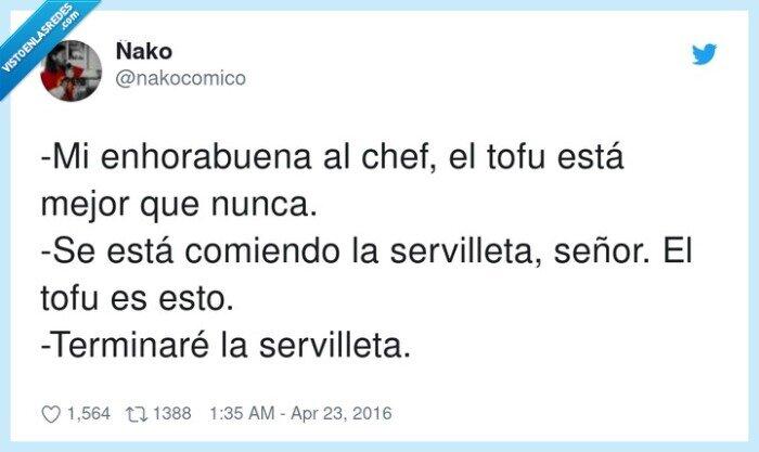 comiendo,enhorabuena,señor,servilleta,tofu