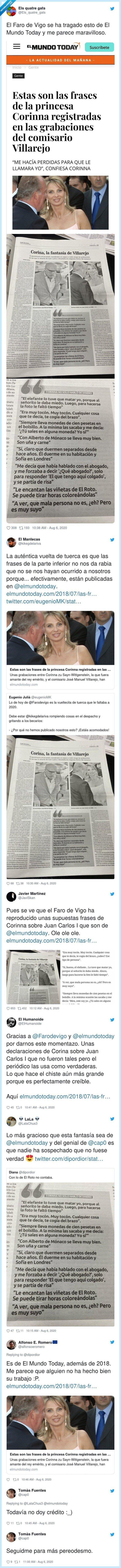 651800 - Cachondeo extremo en Twitter con 'El Faro de Vigo' por tragarse estas frases fake de Corinna sobre Juan Carlos I que se inventó 'El Mundo Today' y hacerlas pasar como reales