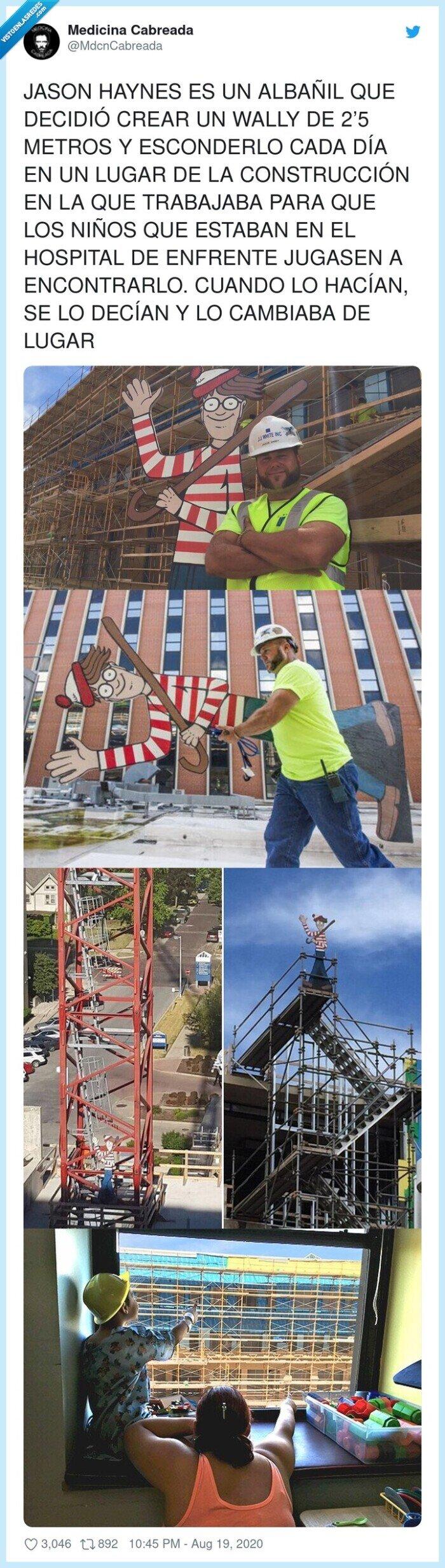 albañil,construcción,eesconder,hospital,niños,wally