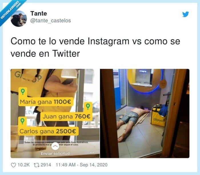 glovo,instagram,twitter,vender