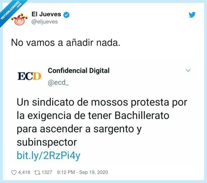 bachillerato,exigencia,mossos,protesta