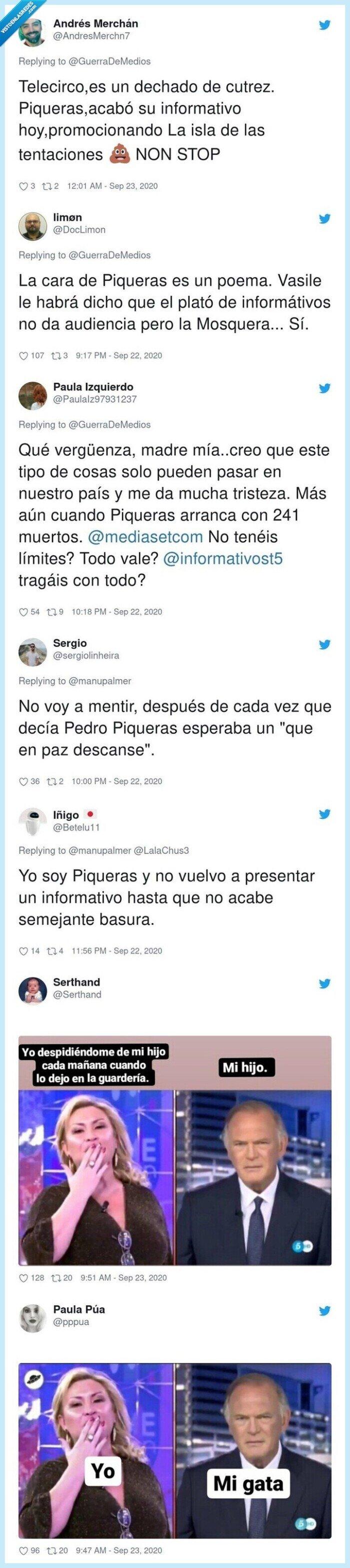 694747 - La transición surrealista de 'Sálvame' a los 'Informativos Telecinco' que ha dejado a Pedro Piqueras con el rostro totalmente desencajado