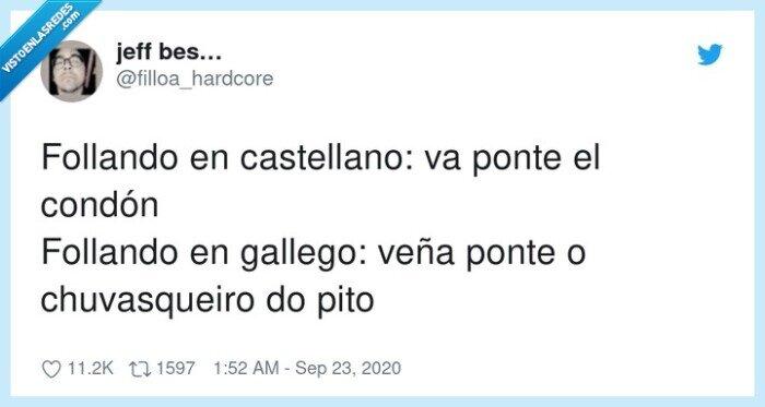 castellano,chuvasqueiro,condón,gallego