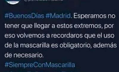 701754 - Twitter se echa encima de la Policía de Madrid por pasarse de graciosa con un tuit amenazador que han tenido que borrar