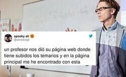 Enlace a Una alumna hace viral a su profesor al compartir en Twitter lo que tiene en su página web, por @alirockingit