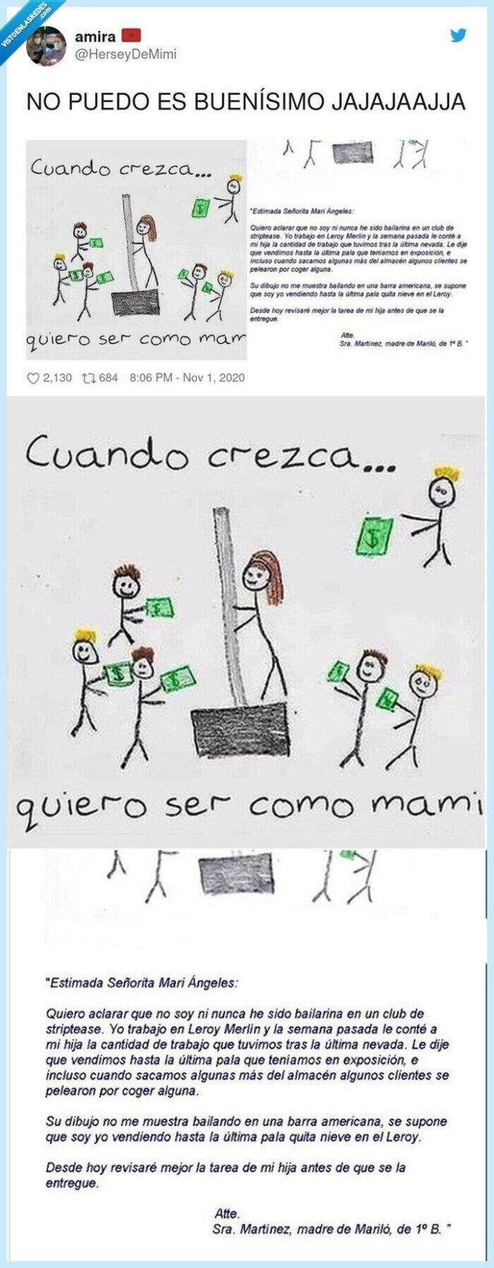 dibujo,madre,niña,nota,trabajo