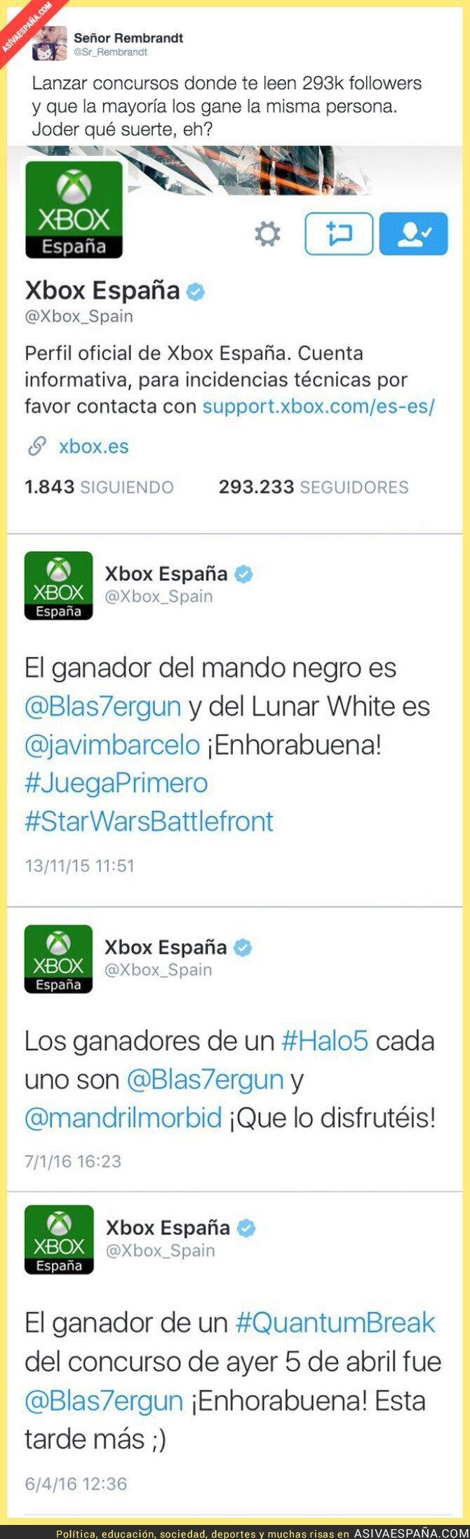 39066 - Xbox España siempre hace ganador de sus sorteos a la misma persona
