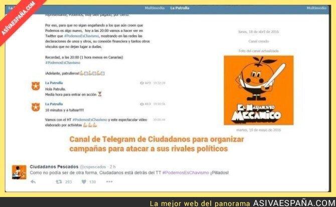 42847 - Todos los Hashtags contra Podemos nacen de los grupos de telegram de Ciudadanos