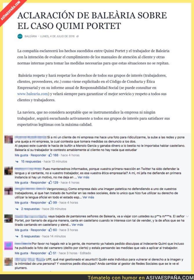 48302 - Baleària responde sobre la polémica con Quimi Portet e internet ataca a la naviera
