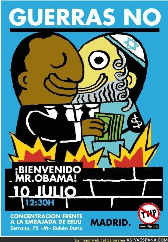 48583 - Polémico cartel de Izquierda Unida Madrid referente a la visita de Obama