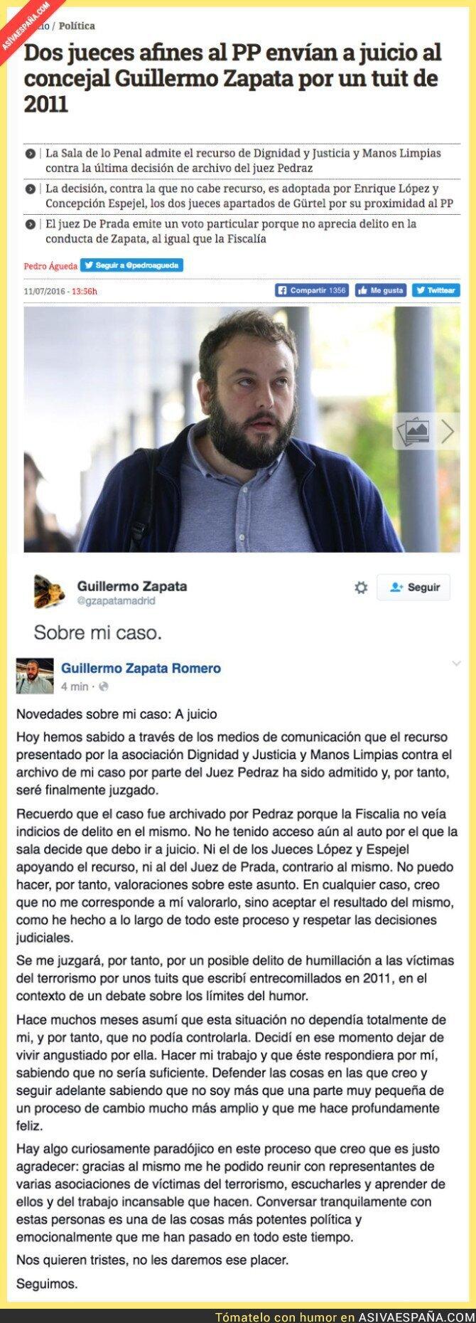 48823 - Guillermo Zapata será finalmente juzgado por un tuit de 2011