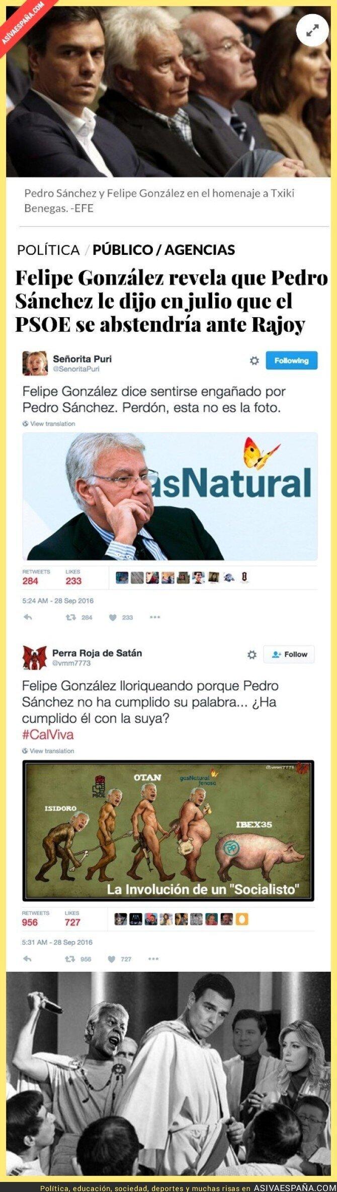 54233 - Felipe González dice que se siente engañado por Pedro Sánchez y se desata la polémica en el PSOE