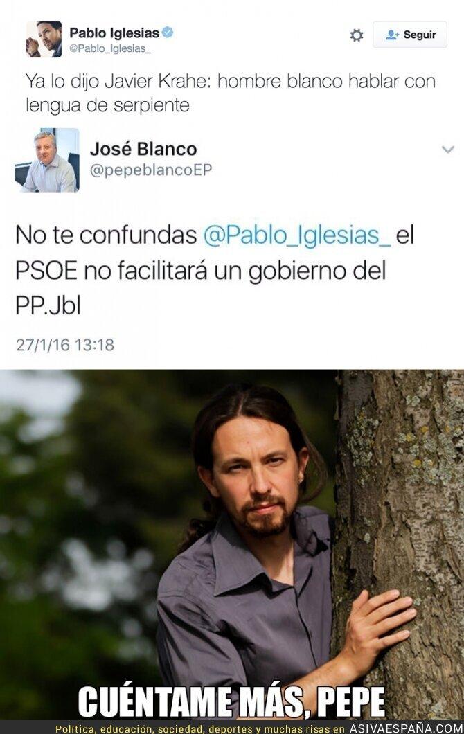 55918 - El tuit de Pepe Blanco a Pablo Iglesias que retrata al PSOE