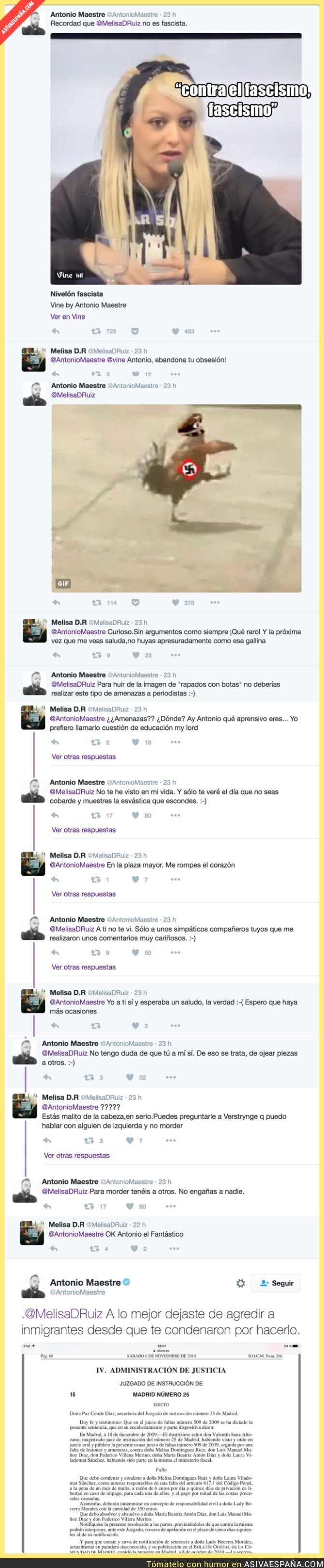 56061 - ZASCA tremendo de Antonio Maestre a la nazi de Hogar Social Madrid que esconde su tatuaje nazi