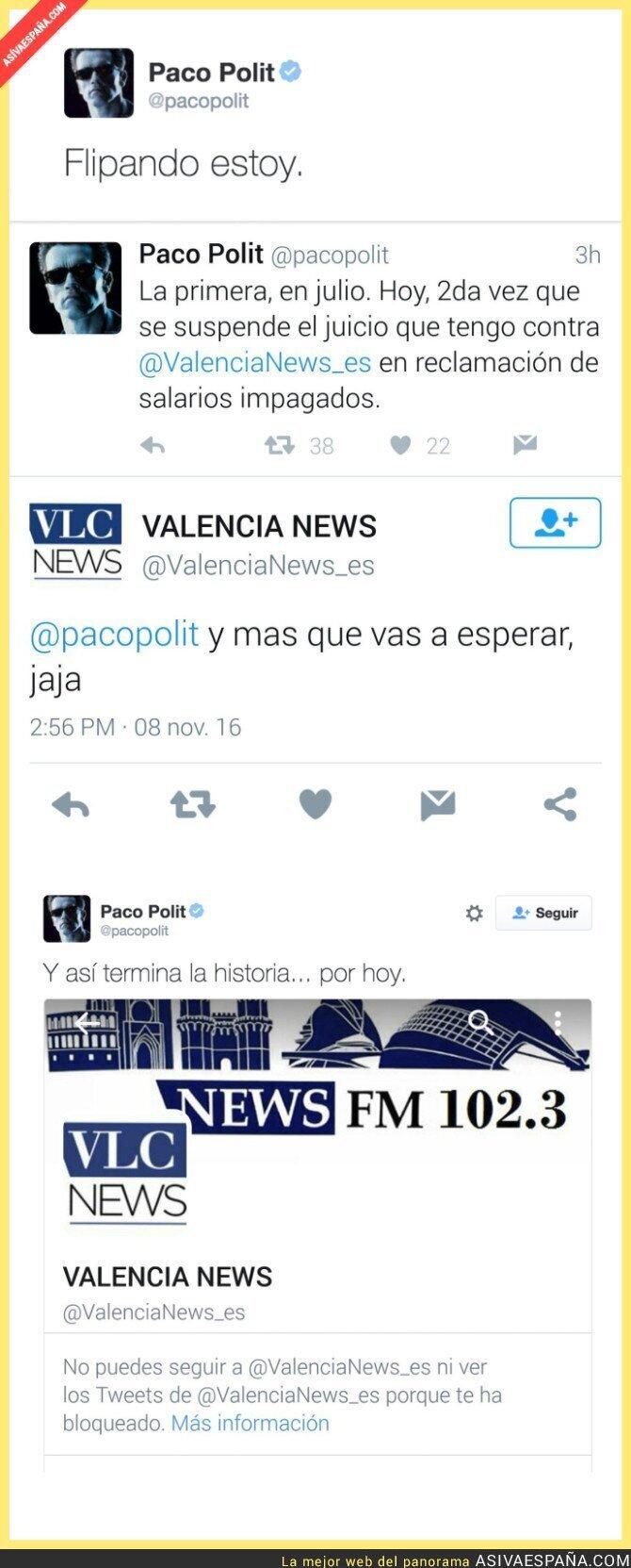 56880 - Así le vacila el periódico Valencia News a un periodista que les ha llevado a juicio por impagos