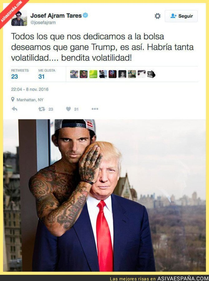 56938 - El polémico tuit del bróker Josef Ajram sobre Estados Unidos y la bolsa  sobre la victoria de Trump