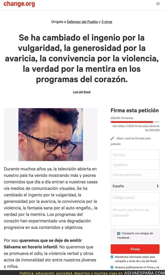 57471 - TODOS A FIRMAR: Campaña en Internet que puede acabar con el programa