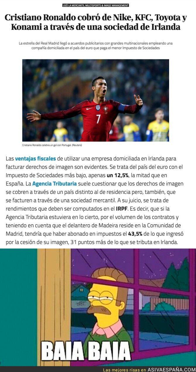 58297 - Cristiano Ronaldo defrauda a la Hacienda española cobrando en una sociedad de Irlanda