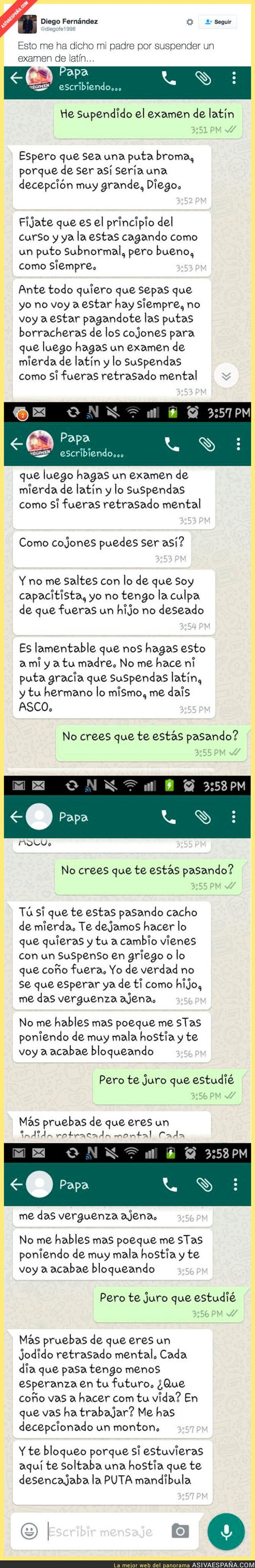 58729 - Le dice a su padre que ha suspendido un examen de latín y le lía la mundial por Whatsapp