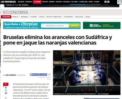 58785 - Europa vota a favor de la naranja africana frente a la española