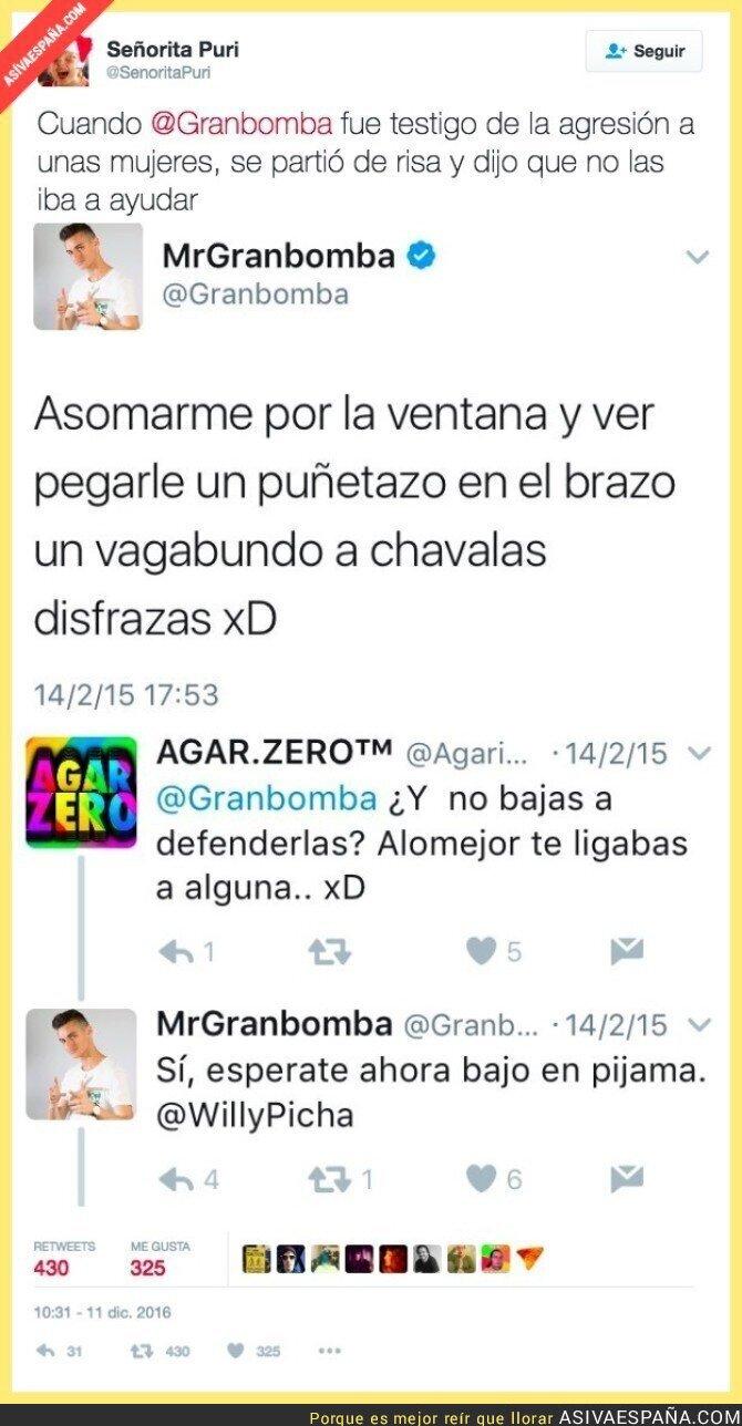 58807 - Cuando @Granbomba fue testigo de agresión a unas mujeres se partió de risa y dijo que no las ayuda