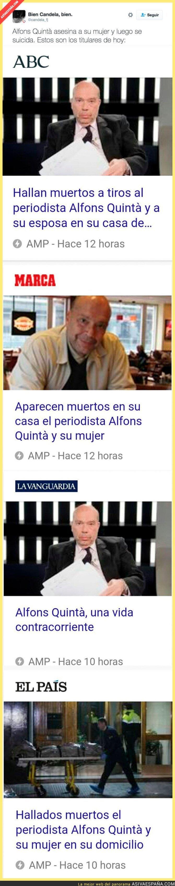 59272 - Alfons Quintà, ex director de TV3, asesina a su mujer y el periodismo titula así
