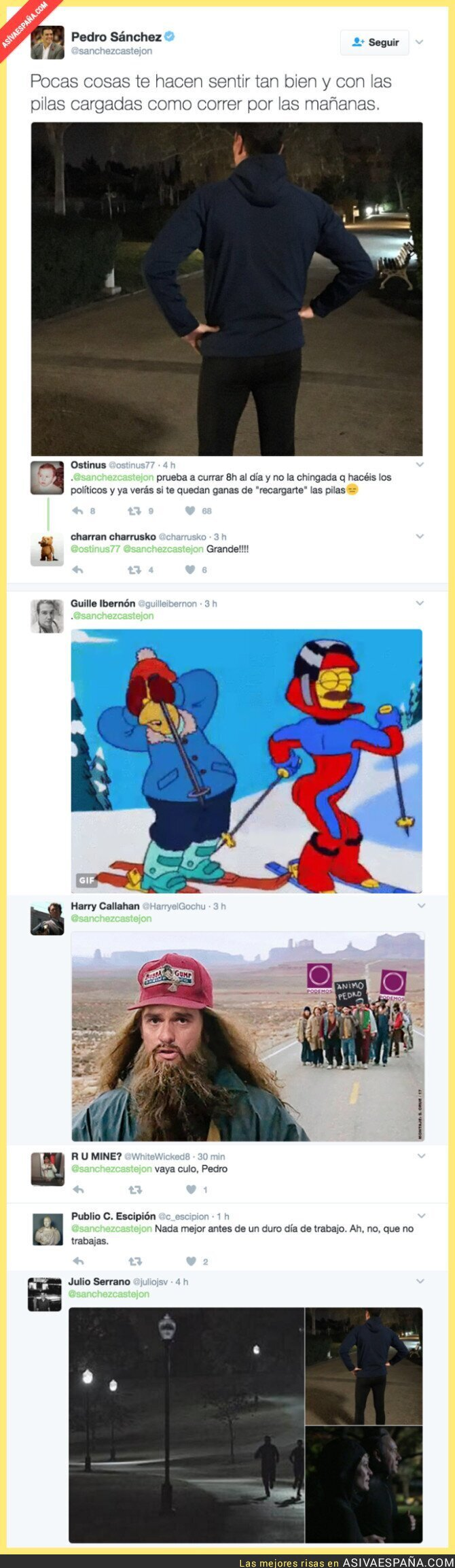 61505 - Pedro Sánchez sale a correr cuando aún es de noche y Twitter enloquece