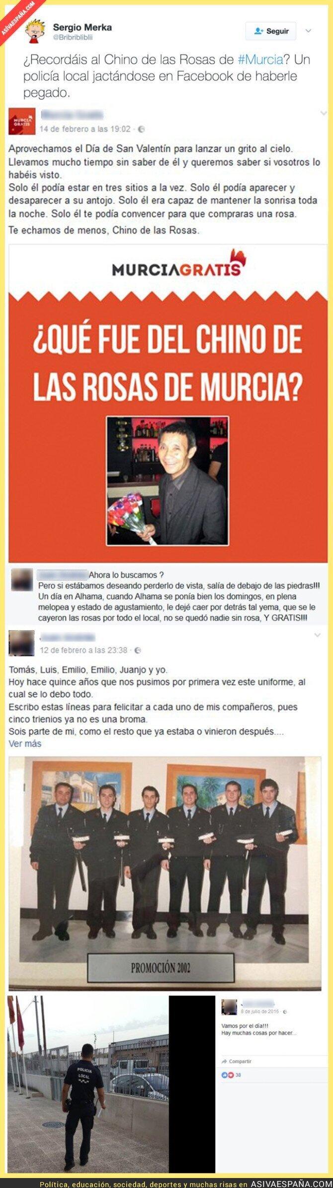 62918 - Policía se mofa de haberle pegado al Chino de las rosas famoso en Murcia