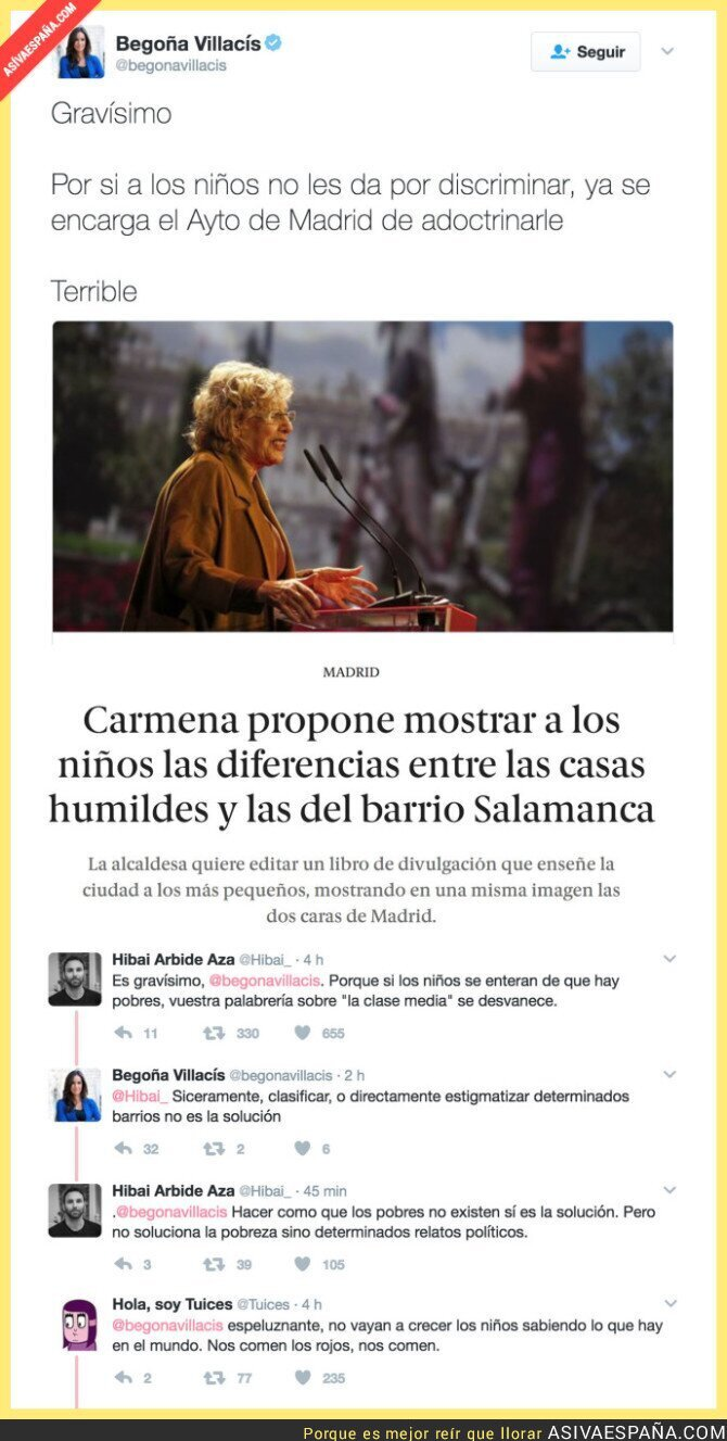 63140 - Explicar que hay gente pobre es adoctrinamiento según Begoña Villacís (Ciudadanos)