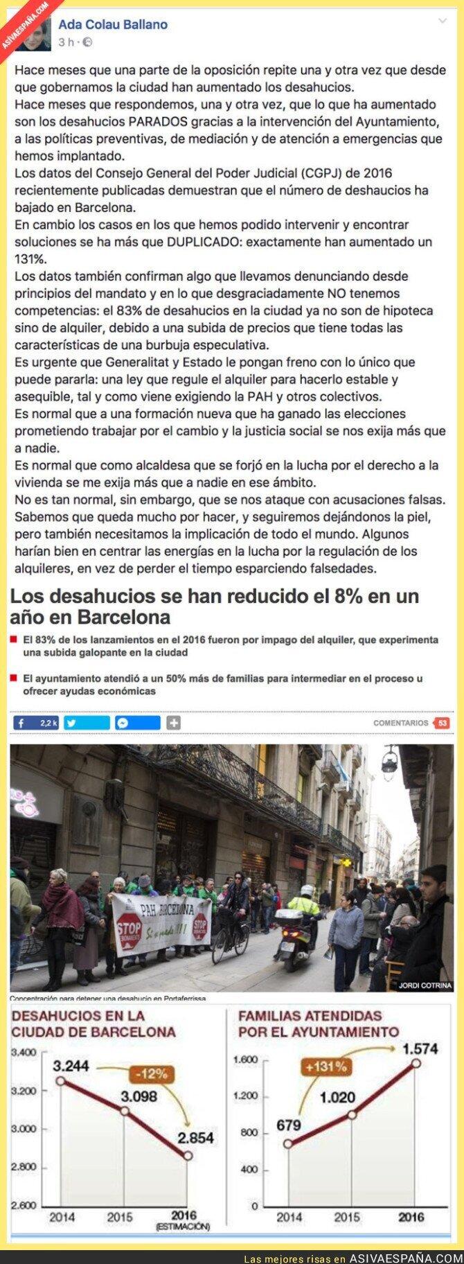 64040 - Ada Colau explica como en Barcelona han disminuido los desahucios desde que ella gobierna