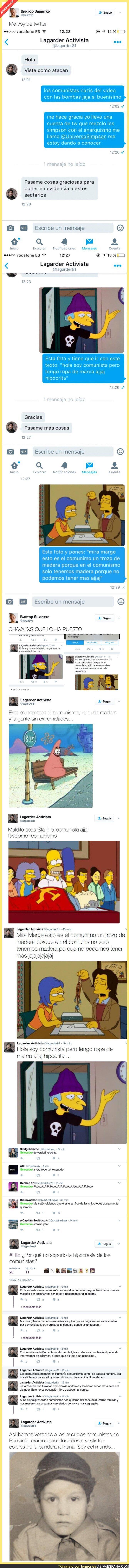 64433 - Lagarder, el famoso activista rumano, empieza su lucha contra el comunismo con memes de Los Simpson