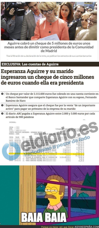 64487 - La gran cantidad de dinero que ingresó Esperanza Aguirre antes de dimitir de la Comunidad de Madrid