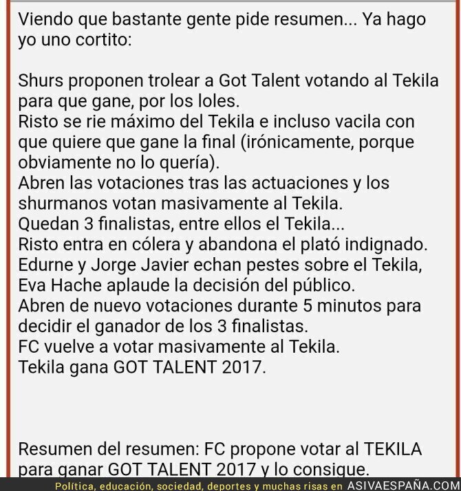 64978 - Forocoches trolea a toda España haciendo ganador de Got Talent a 'el Tekila'