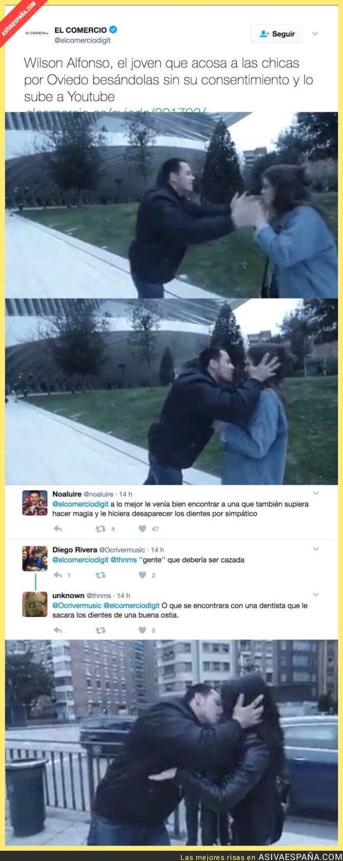 64991 - 'Wilson Alfonso' el youtuber que acosa a mujeres en las calles de Oviedo besándolas a la fuerza