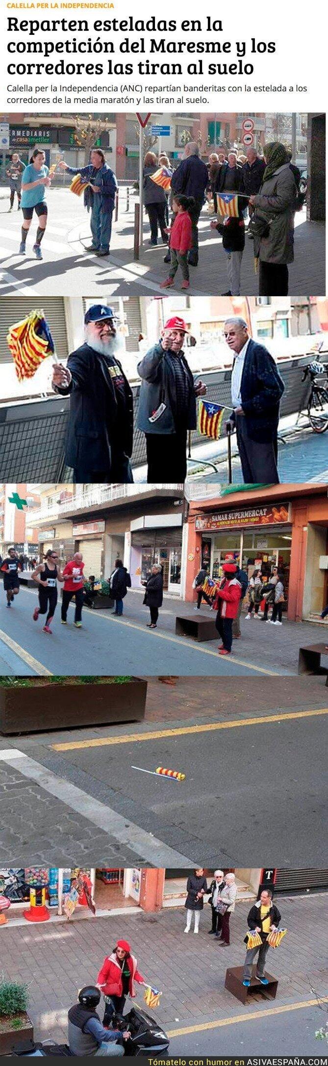 65293 - LAMENTABLE: la última ocurrencia de los independentistas catalanes en una maratón del Maresme