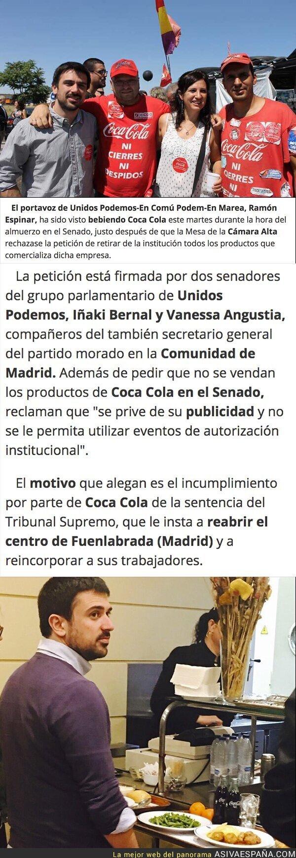65789 - Pillan a Ramón Espinar (Podemos) consumiendo una Coca-Cola tras pedir que se retiren esas bebidas