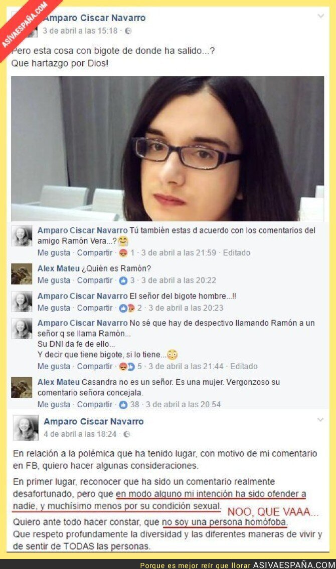 65967 - Los lamentables comentarios de la edil del PP sobre Cassandra Vera en Facebook